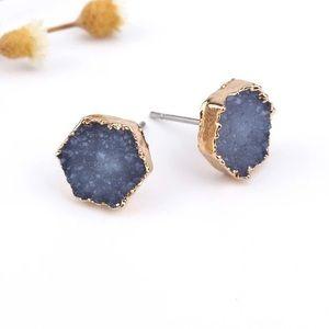 Blue Druzy Stud Earrings